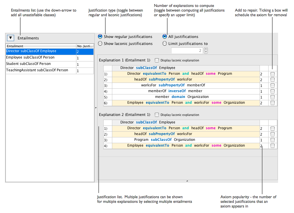 A screen-shot of the Explanation Workbench
